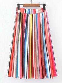 Rainbow Stripe Pleated Skirt