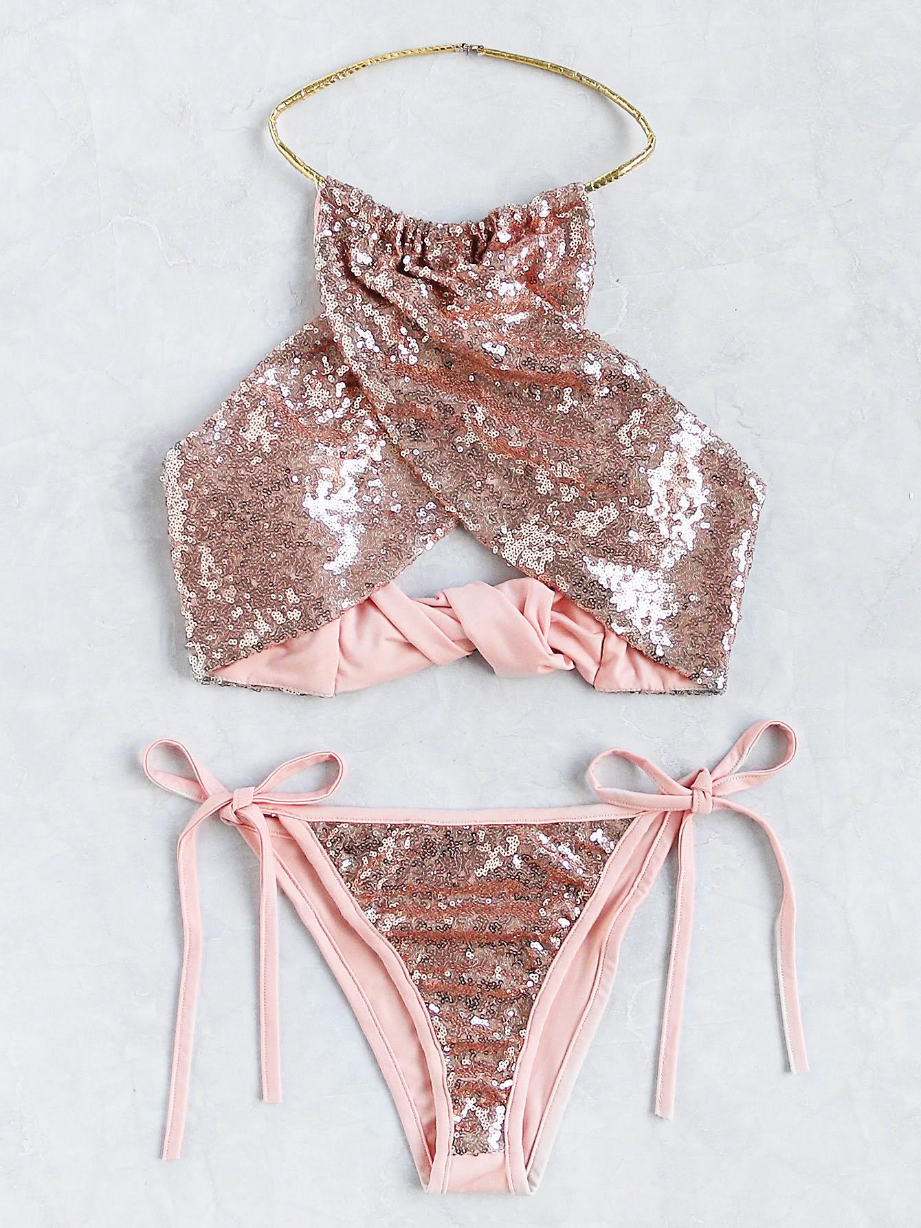 Sequin Overlay Cross Front Halter Bikini Set swimwear17040314