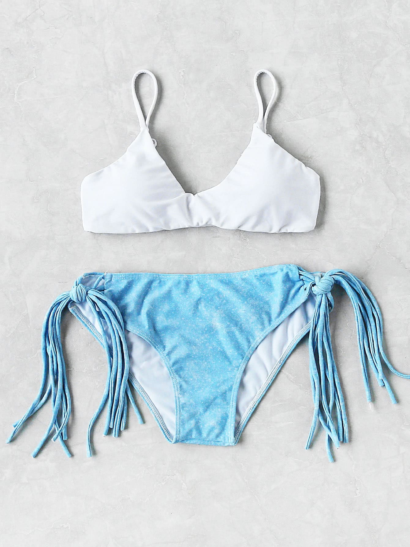 Фото Strappy Tie Side Mixed And Match Bikini Set. Купить с доставкой