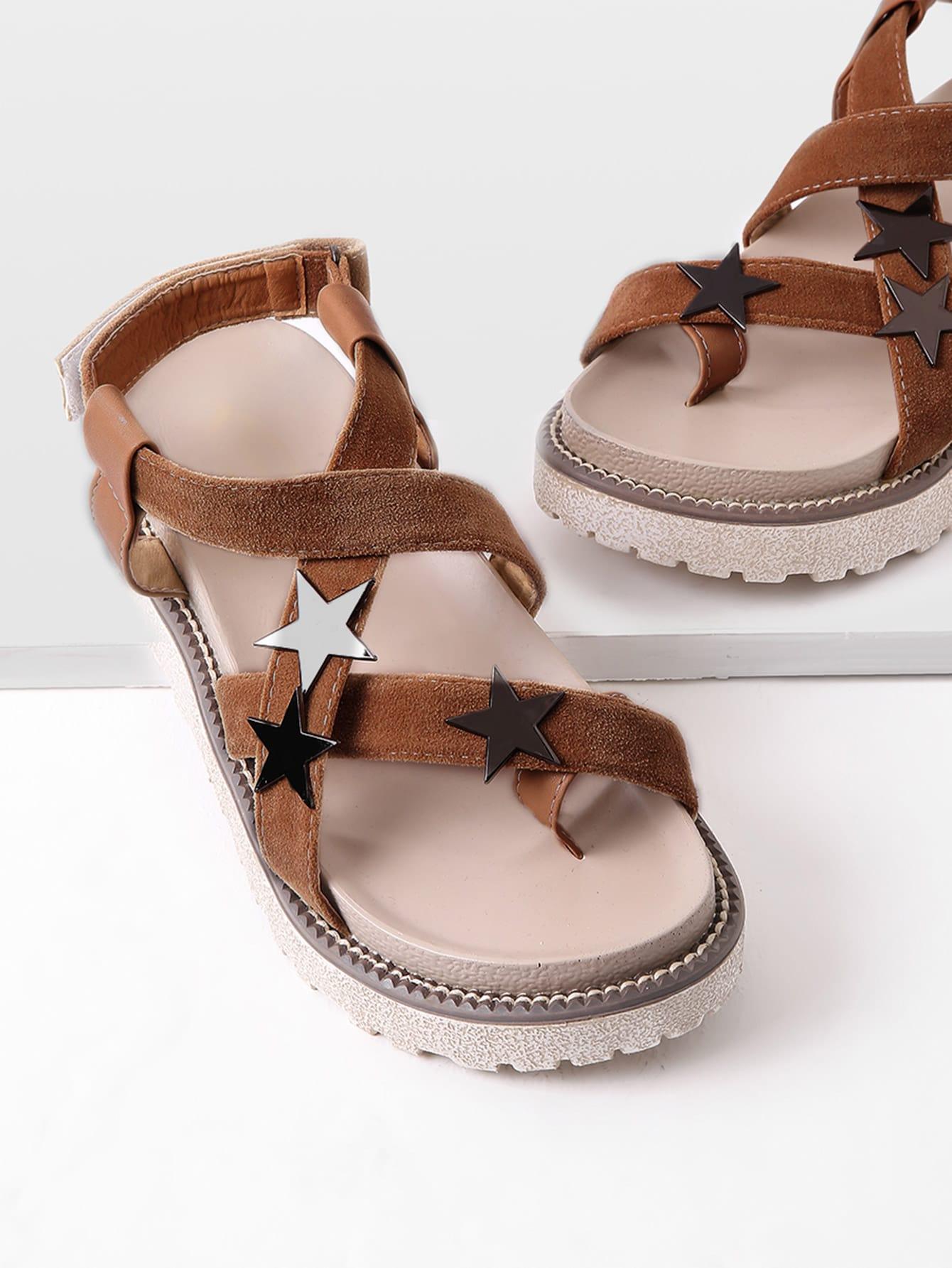 Фото Star Detail Toe Ring Flatform Sandals. Купить с доставкой