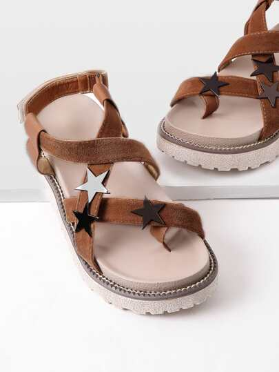 Star Detail Toe Ring Flatform Sandals