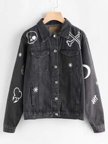 Printed Single Breasted Denim Jacket