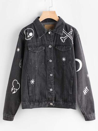 Printed Single Breasted Denim Jacket