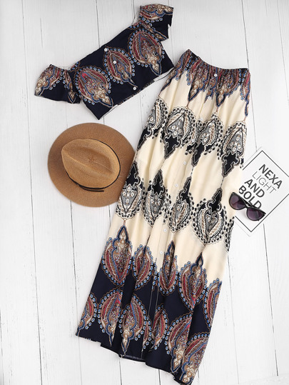 Bardot Neckline Vintage Print Crop Top With Maxi Skirt