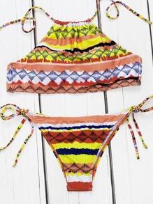 Ensemble de bikini Halter à manches géométriques