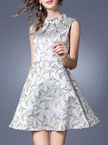 Фото White Crew Neck Print A-Line Dress. Купить с доставкой