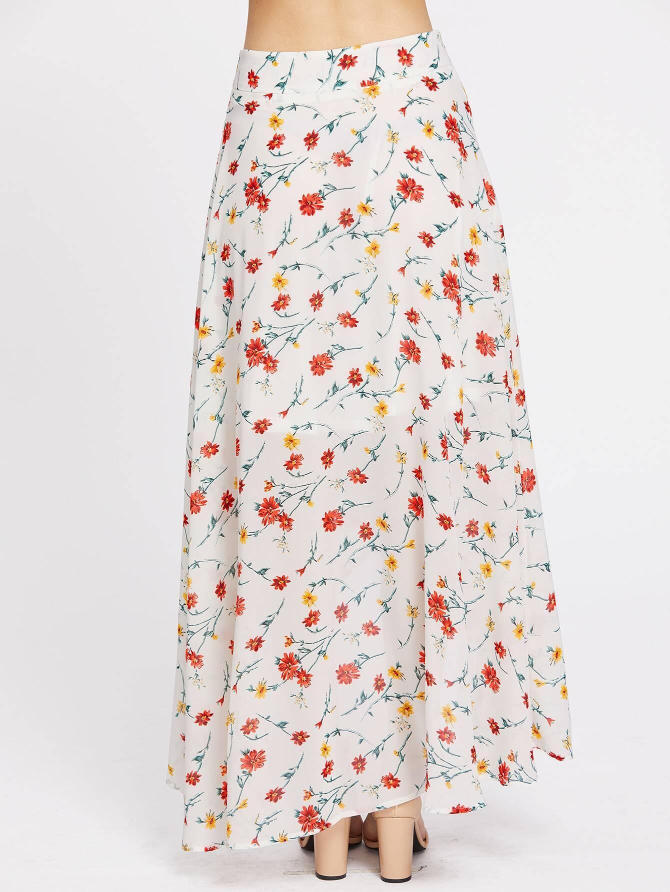high low hemlines floral zipper side skirt shein sheinside