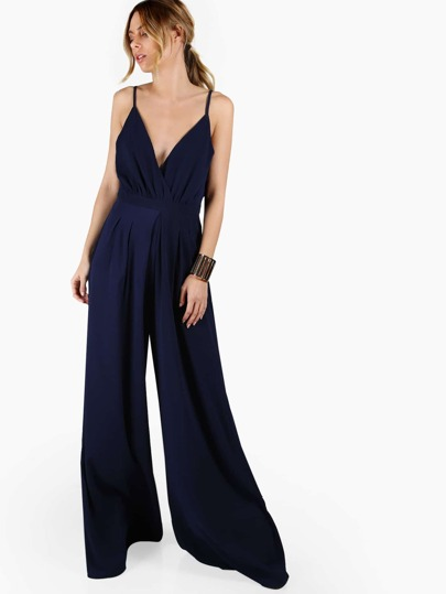 Plunging Overlap Front Box Pleated Culotte Jumpsuit