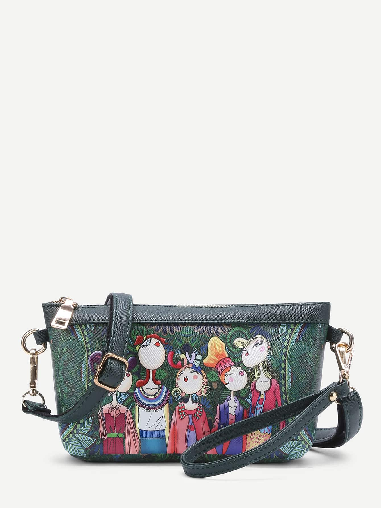 Фото Cartoon Print PU Crossbody Bag With Adjustable Strap. Купить с доставкой
