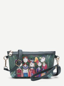 Cartoon Print PU Crossbody Bag With Adjustable Strap