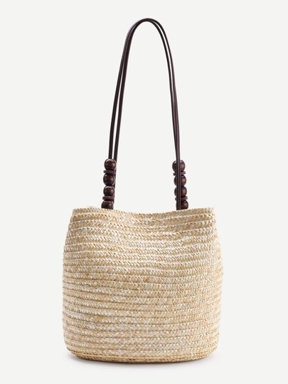 Wood Beaded Detail Straw Shoulder Bag