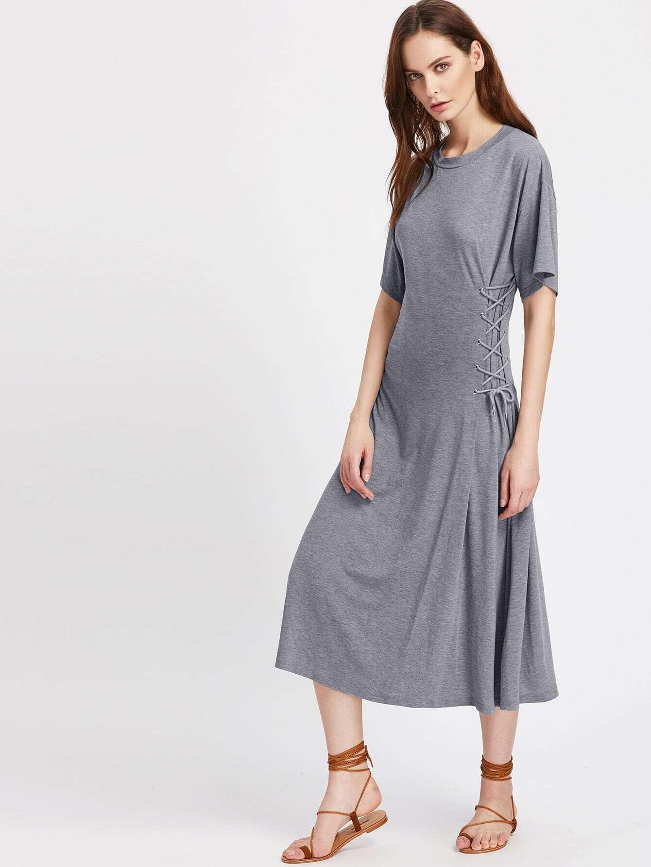 Фото Double Lace Up Side T-shirt Dress. Купить с доставкой
