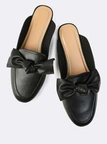 Bow Loafer Flat Slides BLACK