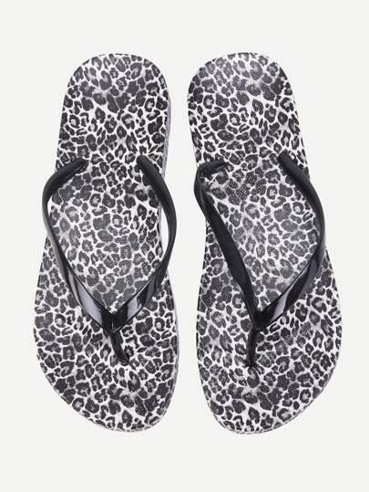 Chanclas con estampado de leopardo