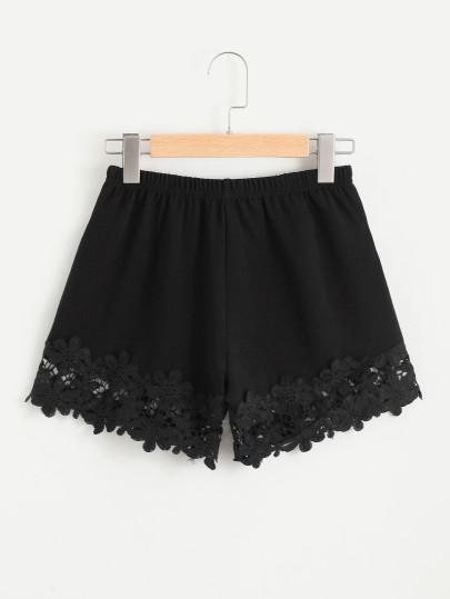 Shorts de croché con encaje