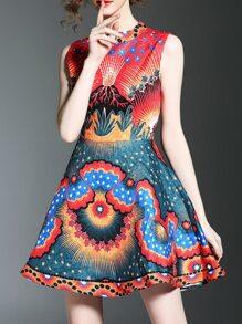 Vestido Jacquard línea A con estampado de flores con cuentas