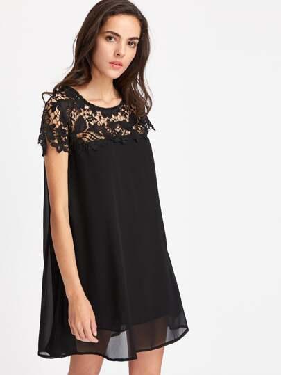 contrast crochet lace chiffon dress shein sheinside. Black Bedroom Furniture Sets. Home Design Ideas