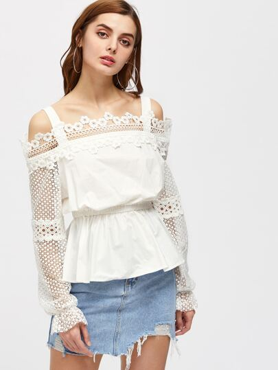 Cold Shoulder Lace Sleeve Peplum Top