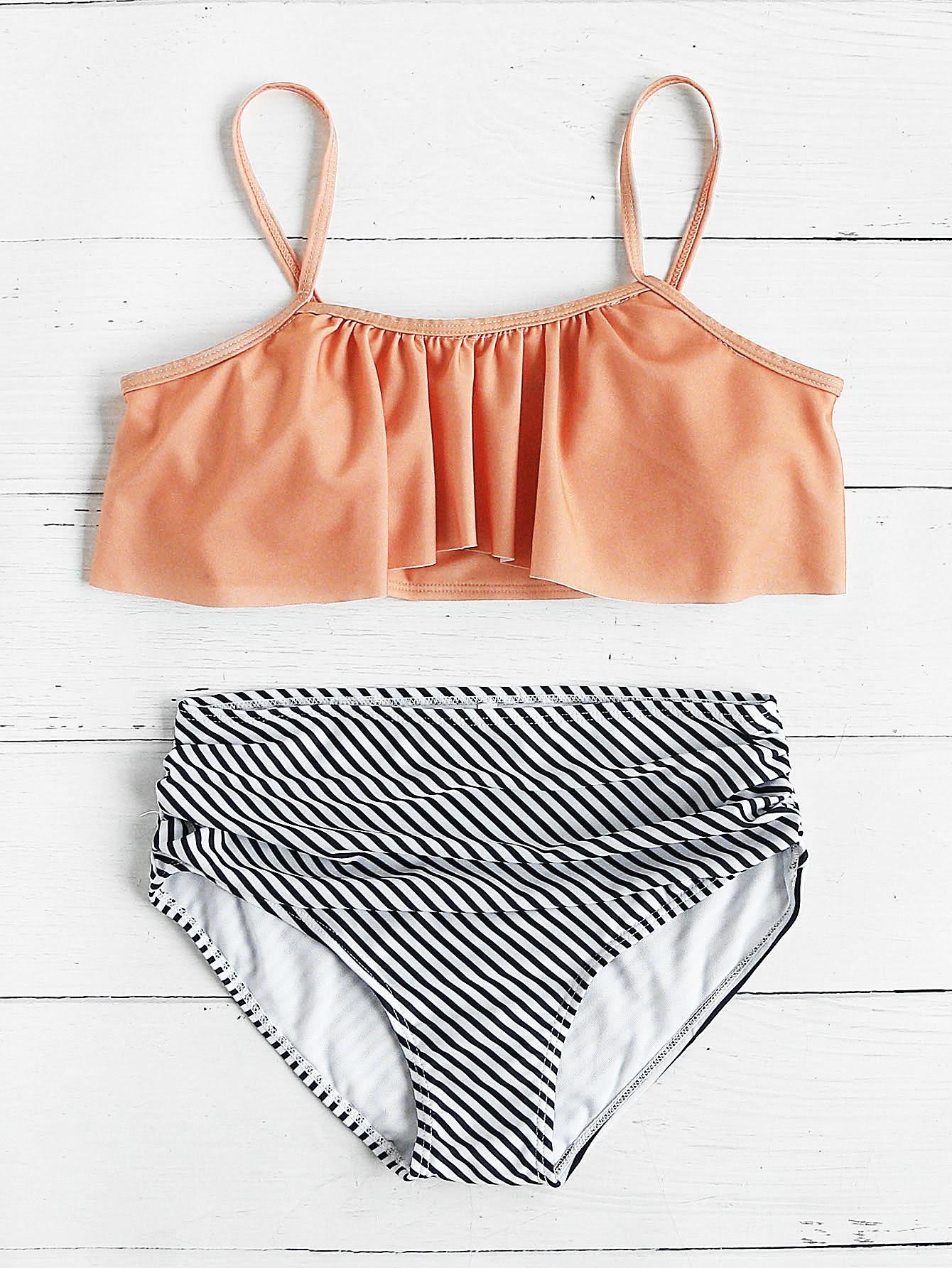 Фото Striped Print Mix & Match Flounce Bikini Set. Купить с доставкой