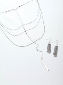 Multi Layer Necklace With Tassel Chain Earrings