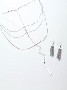 Collar en multi capas con pendientes con cadena y flecos