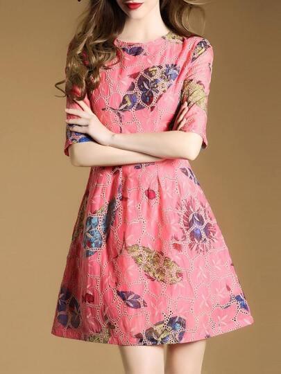 Vestido de malla con estampado de pez-rosa