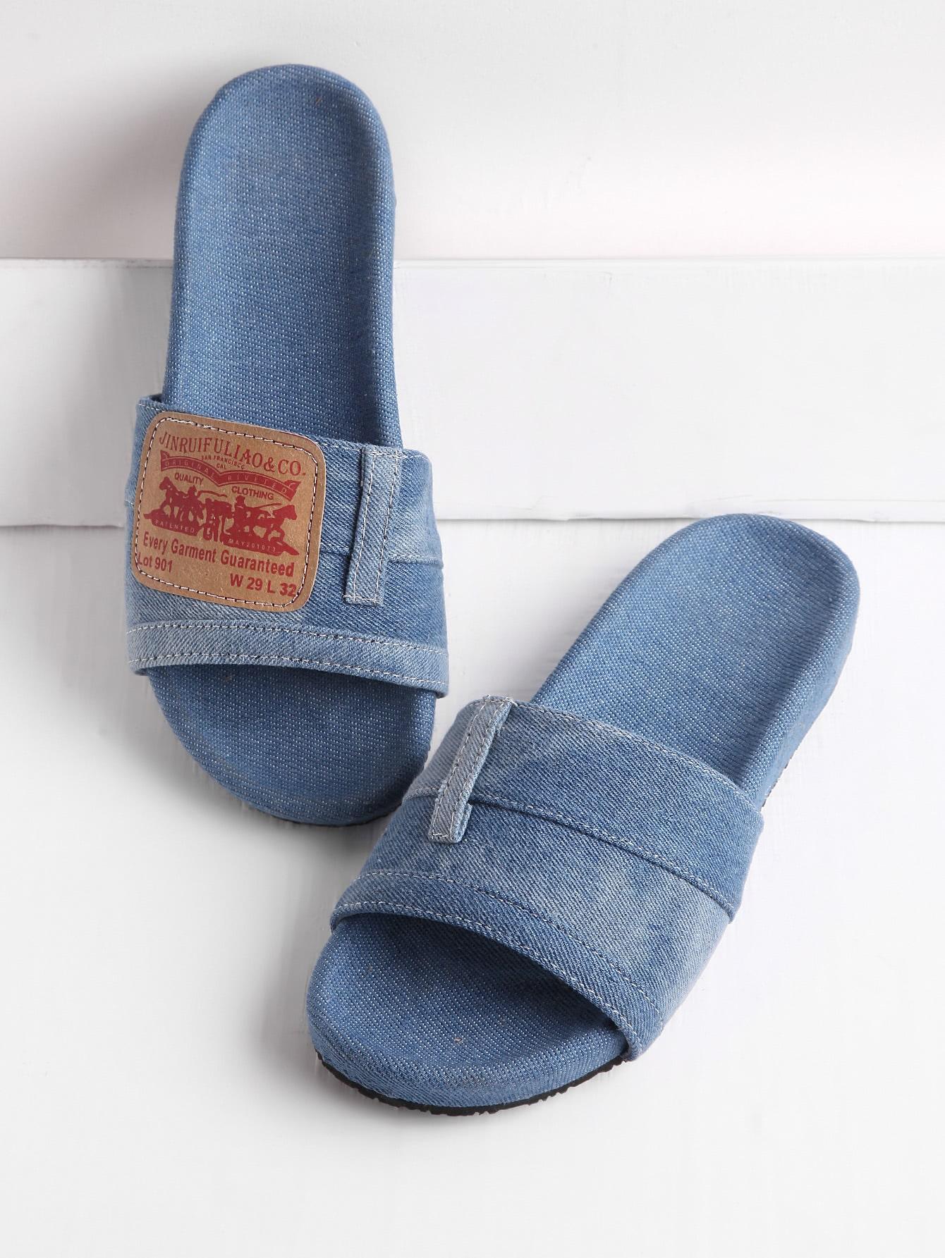 Фото Patch Detail Denim Flat Slippers. Купить с доставкой