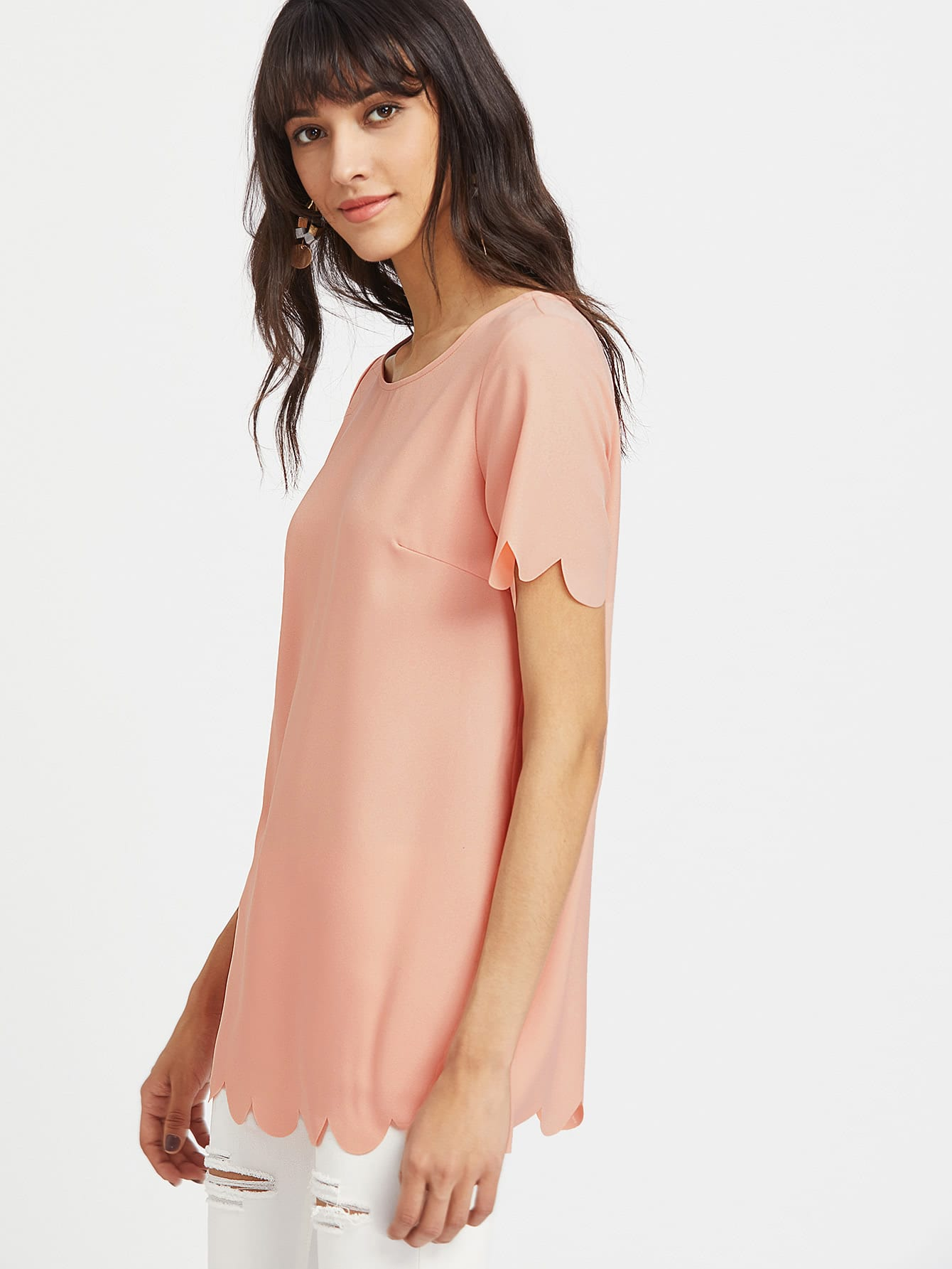 Scallop Trim Longline Tunic Top mikado feeder 9109 8 золото с лопаткой