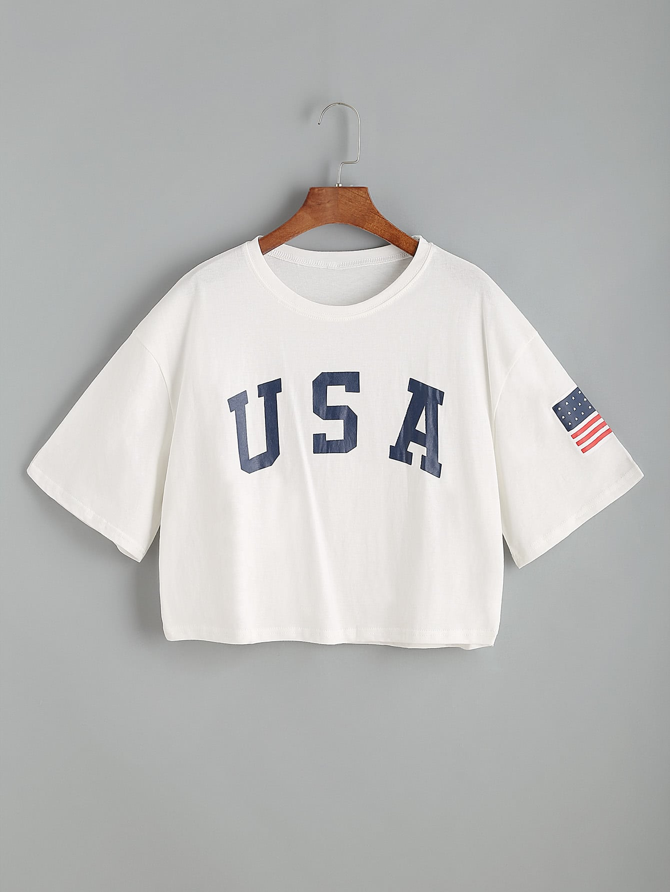 USA Flag Print Drop Shoulder Crop Tee two tone drop shoulder tee