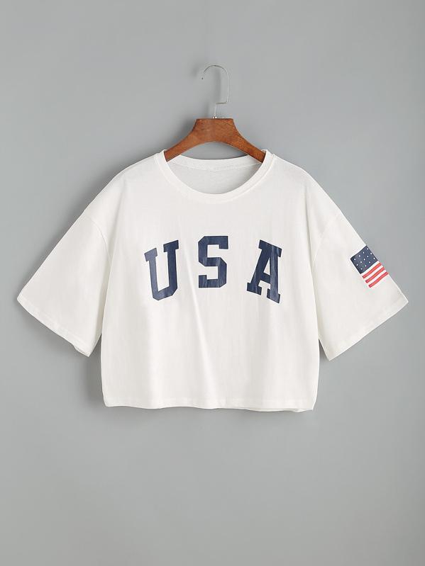 USA Flag Print Drop Shoulder Crop Tee
