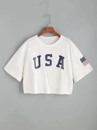 USA Flag Print Drop Shoulder Crop Tee
