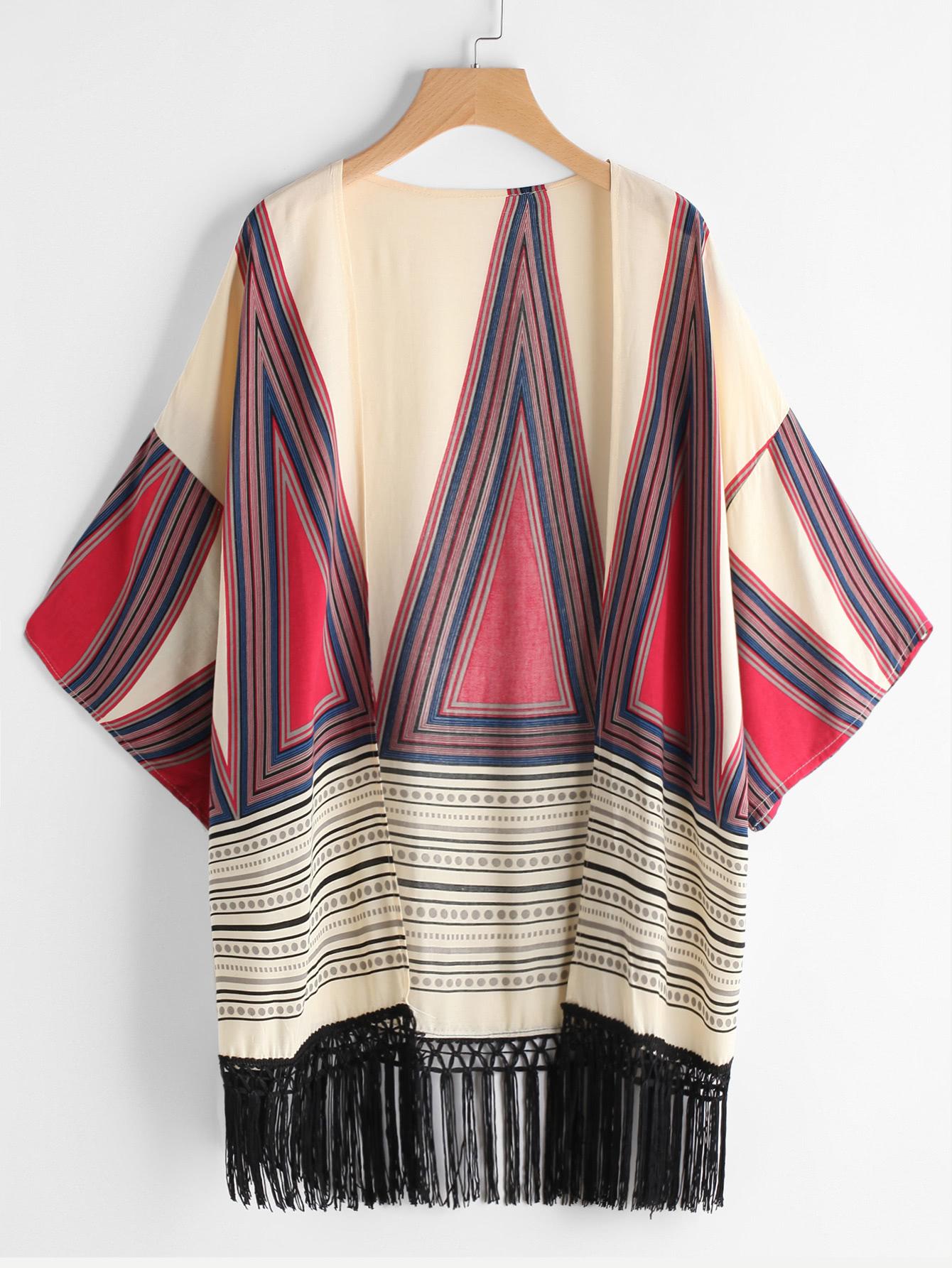 Geometric Print Fringe Hem Kimono