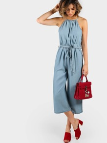 Self Tie Halter Split Back Chambray Culotte Jumpsuit