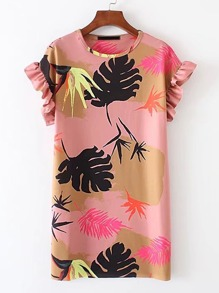 Ruffle Sleeve Tropical Print Dress