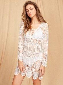 Lace Up Plunge Neck Geo Lace Dress