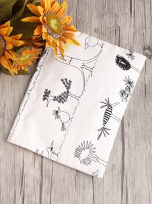 Chicken Print Canvas Clutch Bag