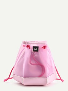 Patch Detail Clear Drawstring Bucket Bag