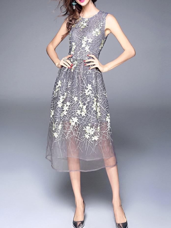 Фото Flowers Gauze Embroidered Long Dress. Купить с доставкой