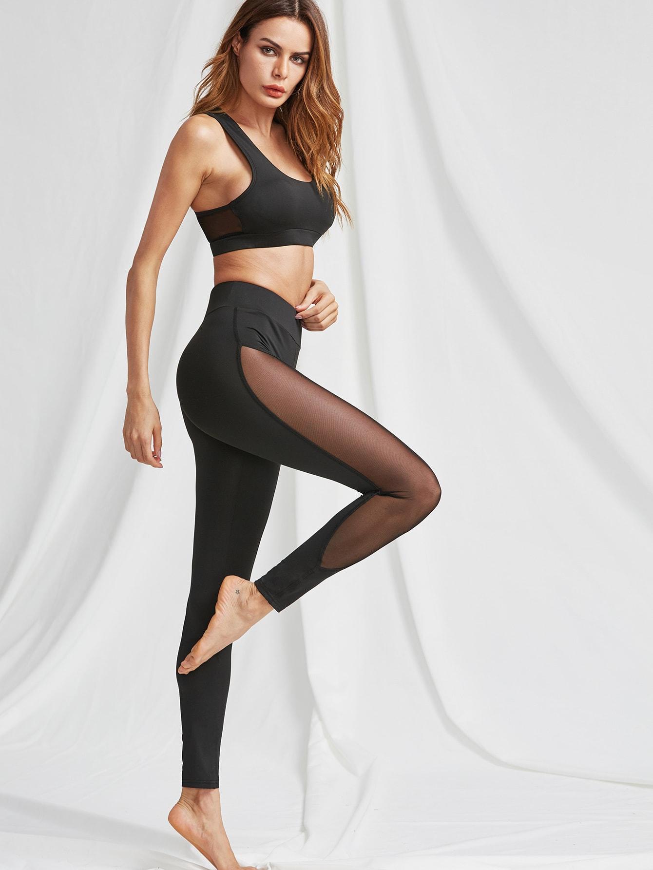 Mesh Panel Sports Bra And Leggings Activewear Set twopiece170422402