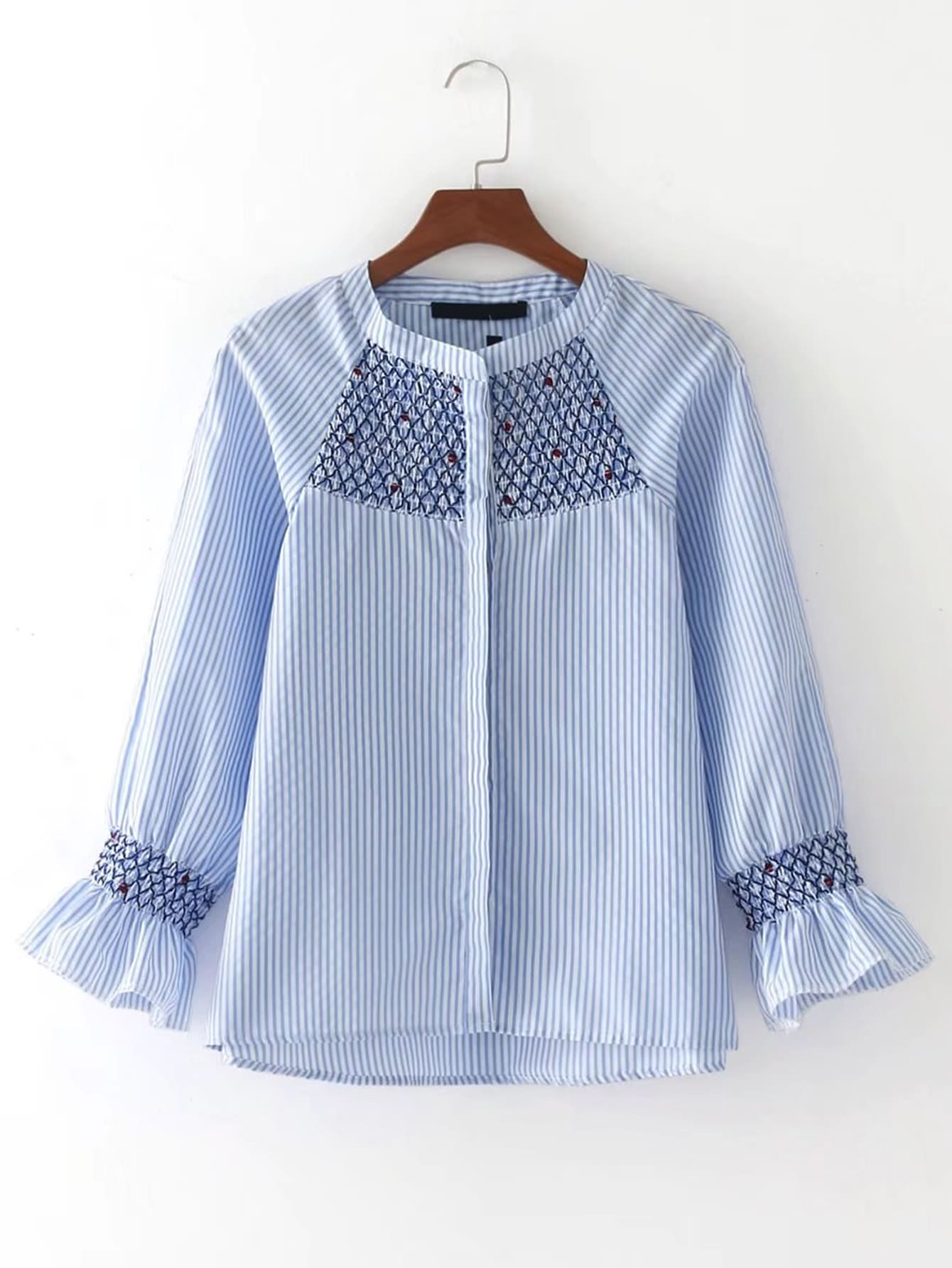 Raglan Sleeve Vertical Striped Embroidered Blouse blouse170426205
