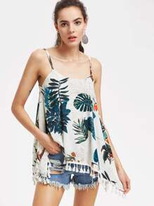 Tropical Print Asymmetrical Fringe Trim Cami Top