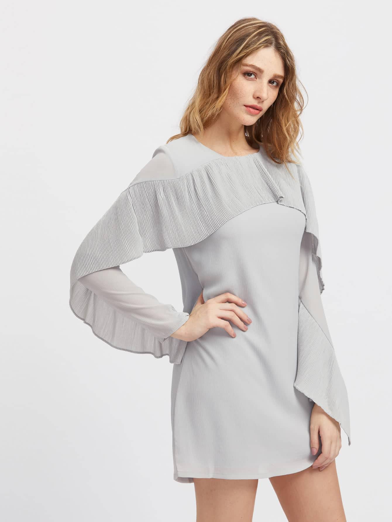 Фото Pleated Flounce Trim Dress. Купить с доставкой