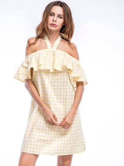 Self Tie V-strap Halter Neckline Frill Layered Plaid Dress