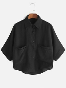 Single Breasted Dual Pockets High Low Shirt