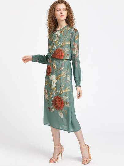 Floral Shirred Cuff Keyhole Back Dress