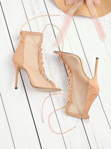 Lace Up Sheer Mesh High Heels