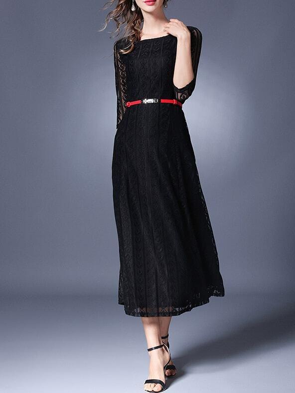 Фото Sheer Sleeve Belted A-Line Dress. Купить с доставкой