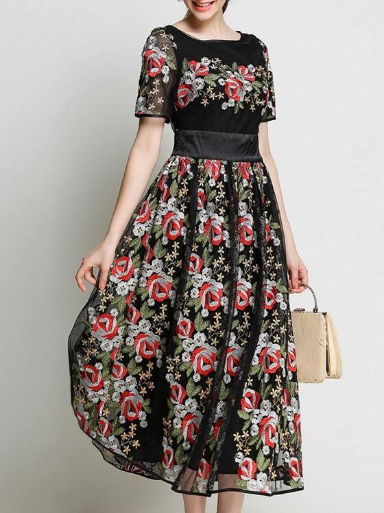 Фото Gauze Flowers Embroidered Sheer Dress. Купить с доставкой