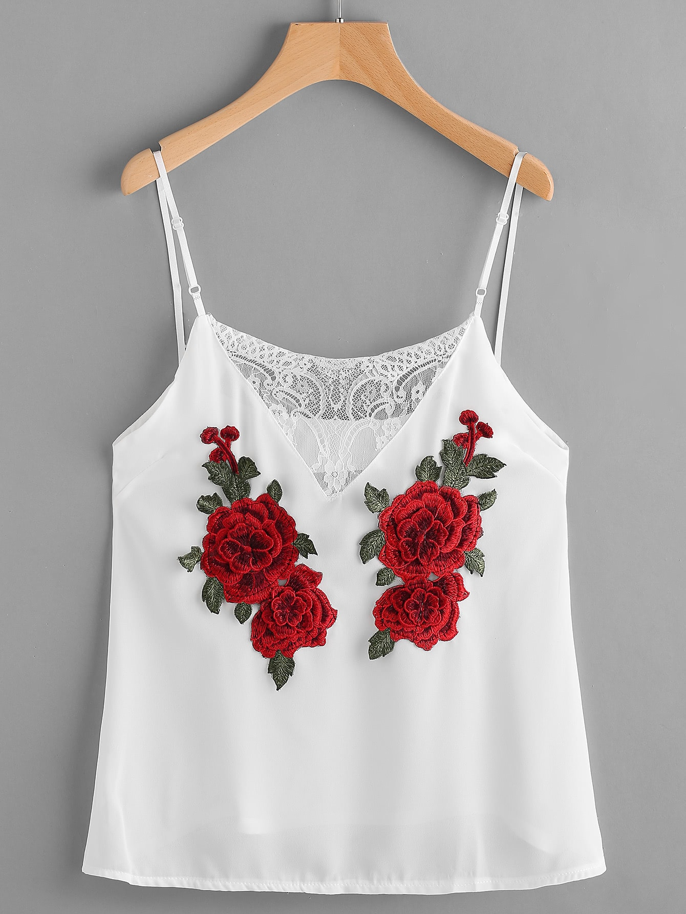 Фото Rose Patch Lace Insert Cami Top. Купить с доставкой
