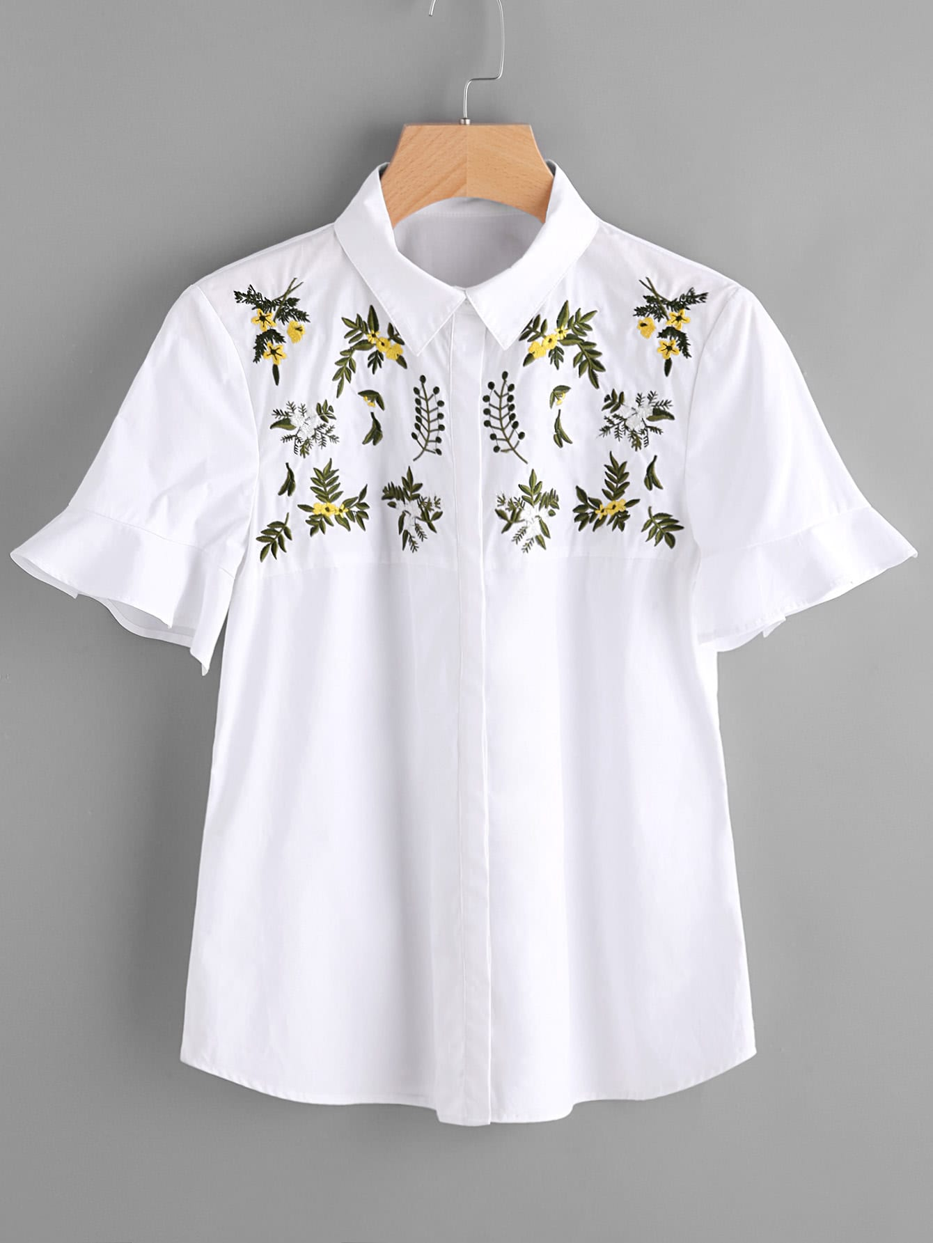 Embroidery frill cuff shirt shein sheinside